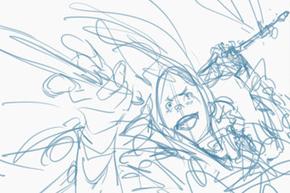 《トーパの自由刃》作画工程、ラフ画の顔がおもしろい!