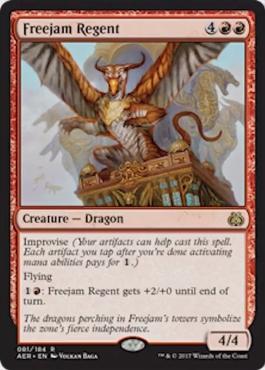 カード名:Freejam Regent タイプ:(4)(赤)(赤) タイプ:クリーチャー – ドラゴン 即席、飛行 (1)(赤):Freejam Regentはターン終了時まで+2/+0の修正を受ける。 4/4 [レア]