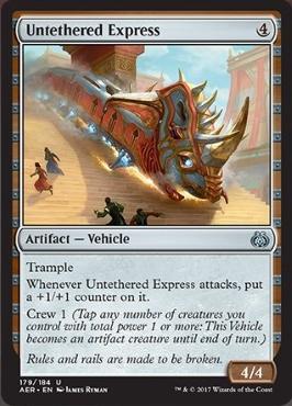 カード名:Untethered Express コスト:(4) タイプ:アーティファクト – 機体 トランプル Untethered Expressが攻撃するたび、それの上に+1/+1カウンターを1つ置く。 搭乗1 4/4 [アンコモン]